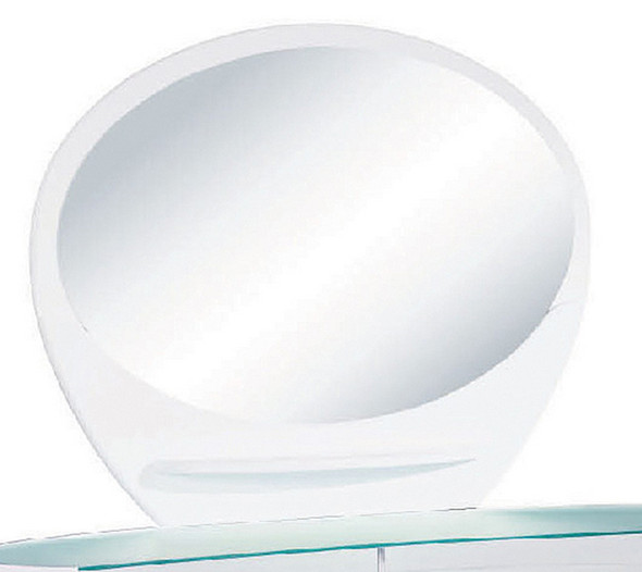 """39"""" Sophisticated White High Gloss Mirror"""