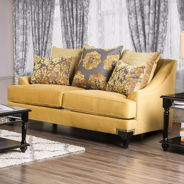 Luxurious Loveseat In Enchanting Gold