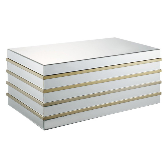 Modern Style Rectangular Metal and Mirror Coffee Table, Silver and Gold