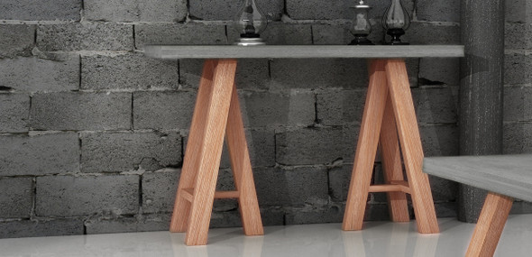 """32"""" Concrete and Solid Acacia Wood Console Table"""