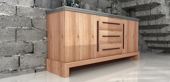"""34"""" Concrete and Solid Acacia Wood Buffet"""