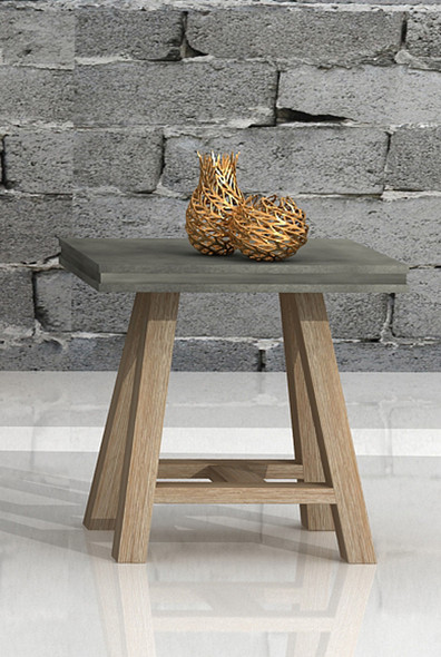 """22"""" Concrete and Solid Acacia Wood End Table"""