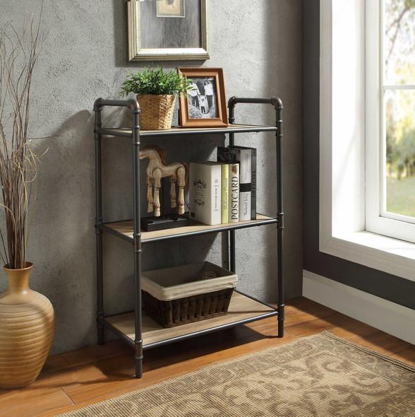 FourTier Metal Bookshelf With Wooden Shelves, Oak Brown amp; Gray