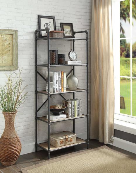 FiveTier Metal Bookshelf With Wooden Shelves, Oak Brown amp; Gray