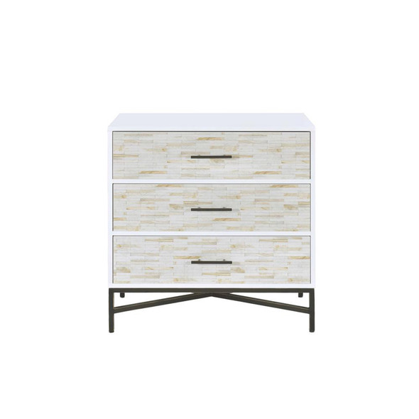 Three Drawers Wooden Console Table with Metal Base, White amp; Black