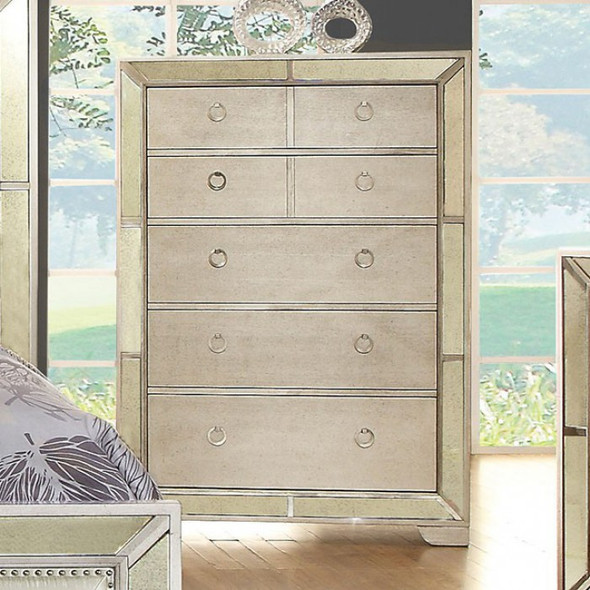 Modern Victorian Style Chest With Loop Handles, Silver