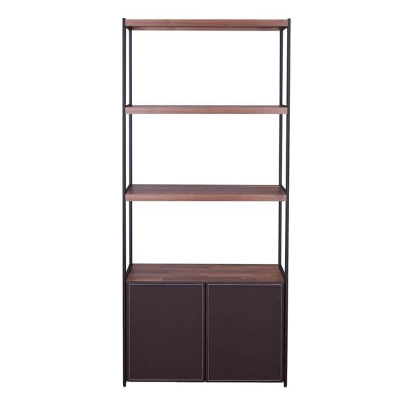 Wooden Shelves Bookshelf and Metal frame Rectangle, Walnut Brown amp; Sandy Black