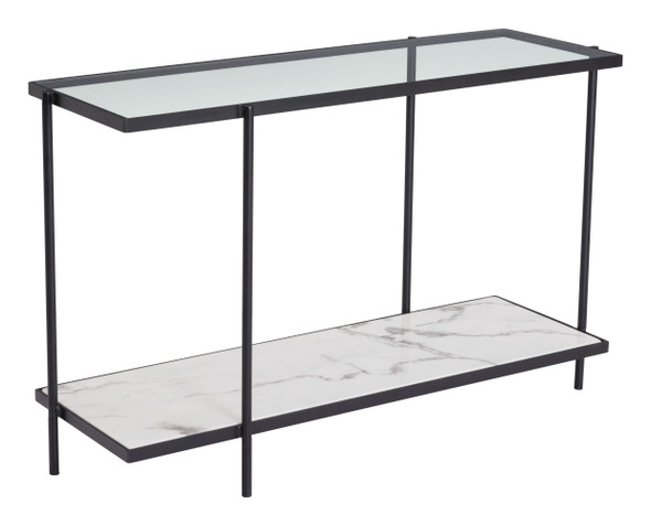 """46.1"""" x 15"""" x 29.9"""" Clear, White amp; Matte Black, Tempered Glass, Marble, Steel, Console Table"""