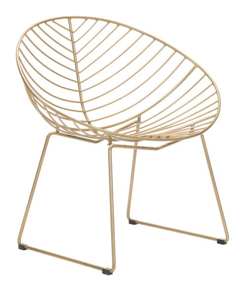 "33.9"" x 22.4"" x 32.1"" Gold, Steel, Outdoor Lounge Chair - Set of 2"