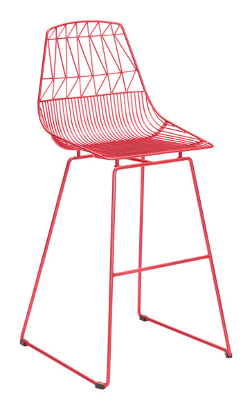 "22"" x 22"" x 43.5"" Red, Steel, Bar Chair - Set of 2"