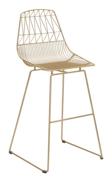 "22"" x 22"" x 43.5"" Gold, Steel, Bar Chair - Set of 2"