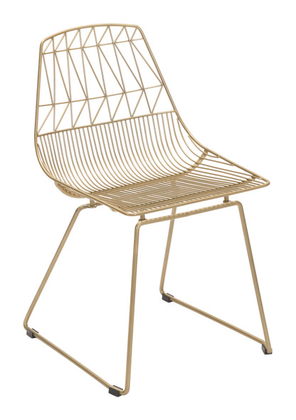 """20.9"""" x 20.9"""" x 32.7"""" Gold, Steel, Dining Chair - Set of 2"""