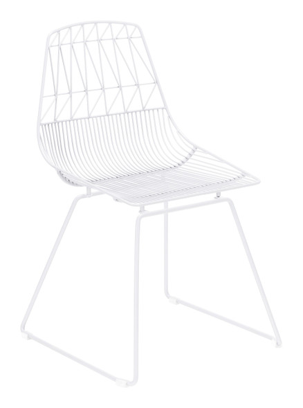 "20.9"" x 20.9"" x 32.7"" White, Steel, Dining Chair - Set of 2"