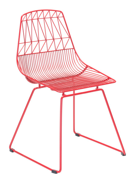 """20.9"""" x 20.9"""" x 32.7"""" Red, Steel, Dining Chair - Set of 2"""