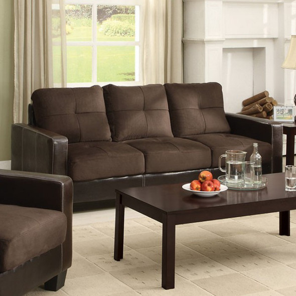 Contemporary Style Sofa in Chocolate and Espresso