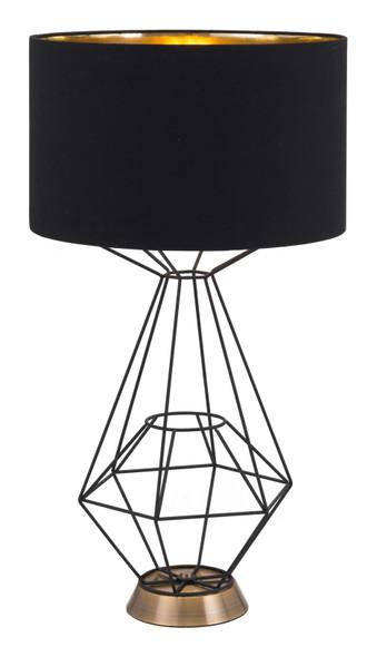 "15"" x 15"" x 28"" Black, Polyblend, Steel, Table Lamp"