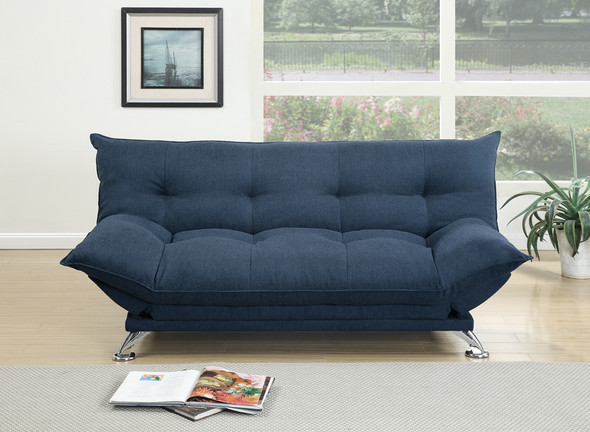 Velvet Fabric Cushiony Adjustable Couch In Blue