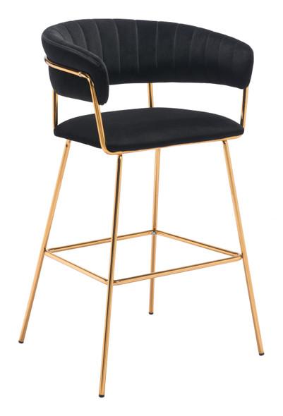 """23"""" x 23"""" x 41"""" Black Velvet, Steel amp; Plywood, Bar Chair - Set of 2"""