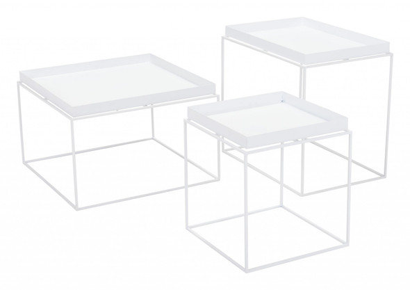 "23.6"" x 23.6"" x 15.7"" White, Steel, Nesting Table"