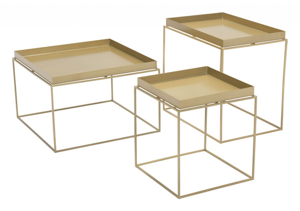 "23.6"" x 23.6"" x 15.7"" Gold, Steel, Nesting Table"