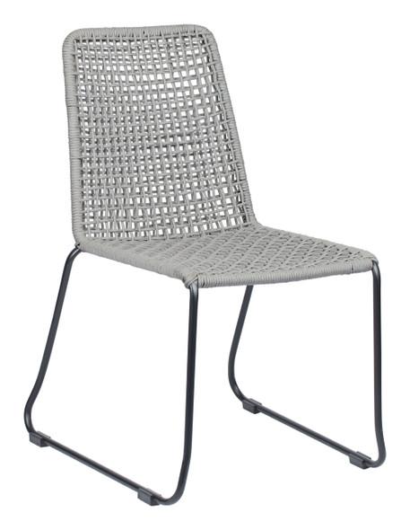 "22.8"" x 25.2"" x 34.6"" Black amp; Dark Gray, Rope, Steel, Dining Chair - Set of 2"