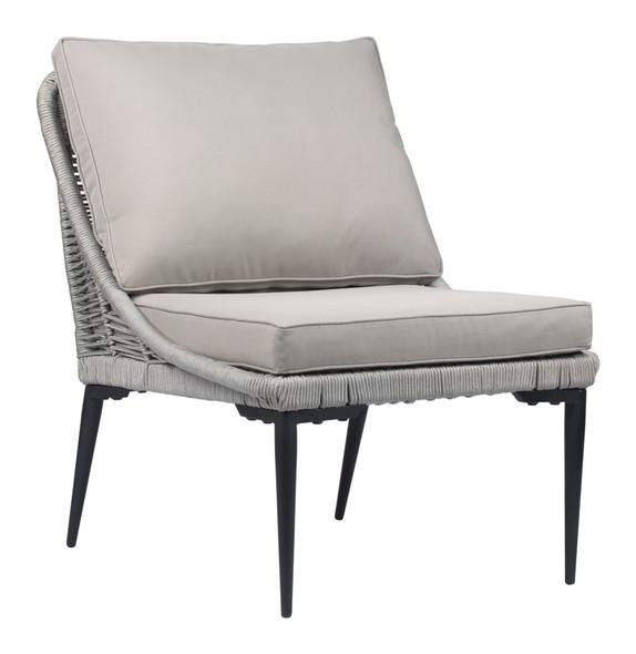 "25.2"" x 30.7"" x 31.5"" Black amp; Dark Gray, Sunproof Fabric, Steel amp; Rope, Lounge Chair"