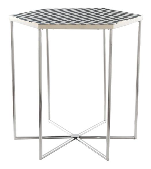 """18.7"""" x 18.7"""" x 21.1"""" Black amp; White, Resin, Steel, Side Table"""
