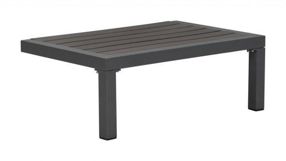 "28"" x 18.1"" x 10.2"" Dark Gray, Polyresin amp; Powder Coated Aluminum, Side Table"