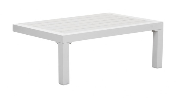 "28"" x 18.1"" x 10.2"" White, Polyresin, Powder Coated Aluminum, Side Table"