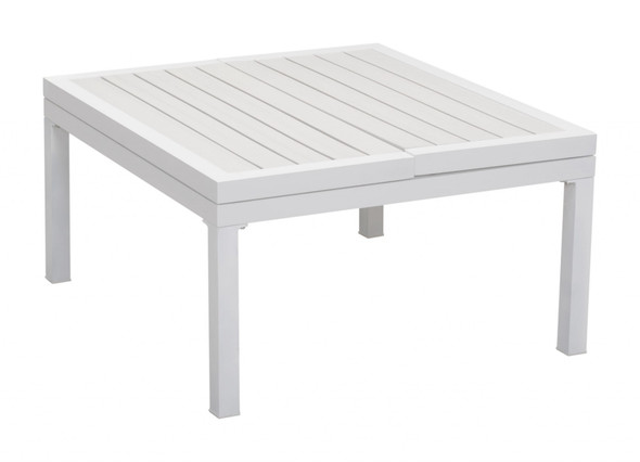 "33.5"" x 30.7"" x 17.1"" White, Polyresin, Powder Coated Aluminum, Lift-Top Coffee Table"