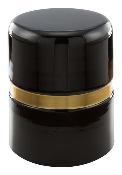 "15.5"" x 15.5"" x 18"" Black amp; Gold, Porcelain Enamel, Iron, Side Table"