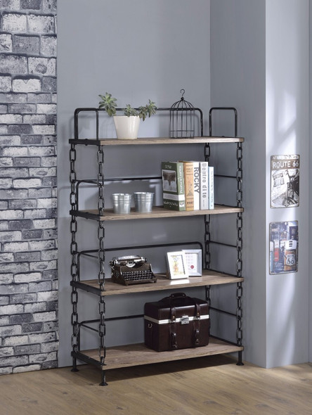 Industrial Looking Bookshelf, Rustic Oak amp; Antique Black