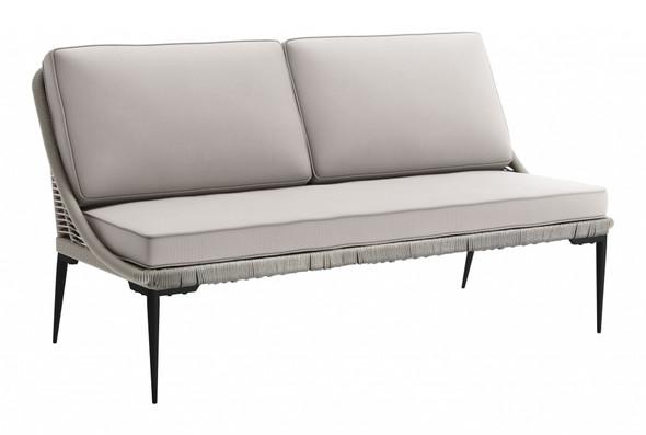 "66.1"" x 31.5"" x 35"" Black amp; Dark Gray, Steel amp; Rope, Sofa"