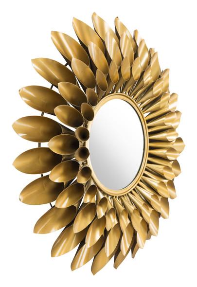 """31.5"""" x 4"""" x 31.5"""" Gold, Iron, MDF, Round Mirror"""