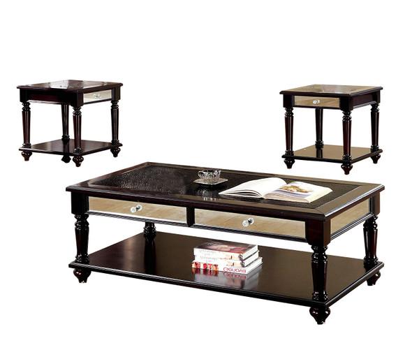 Contemporary Three Piece Table Set, Espresso Finish, Set Of 3