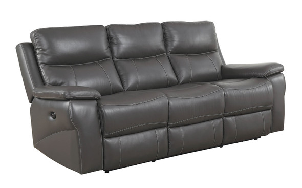 Contemporary Style Double Recliner Leather Sofa, Gray