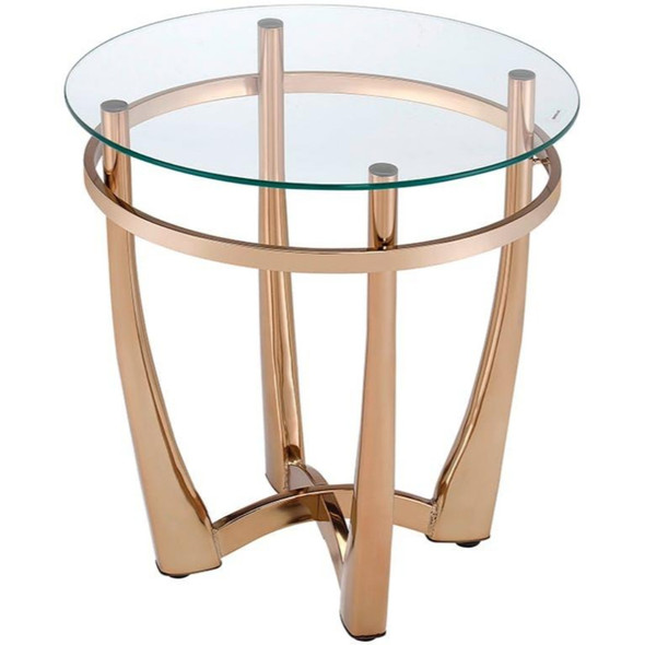 Glass Round End Table With Metal Base, Champagne And Clear Glass