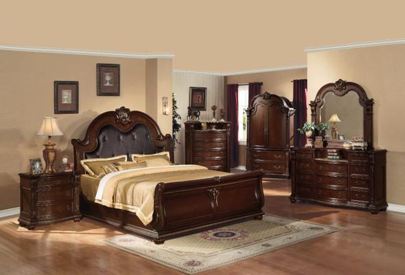 Queen Bed, Espresso amp; Cherry Brown