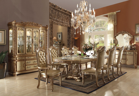 Alluring Dining Table with Double Pedestal, Gold