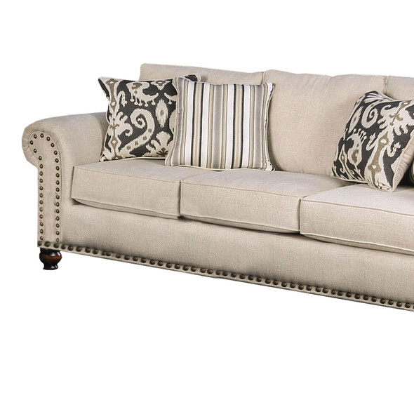 Fabric Upholstered Wooden Sofa with Nailhead Trim Accents, Beige