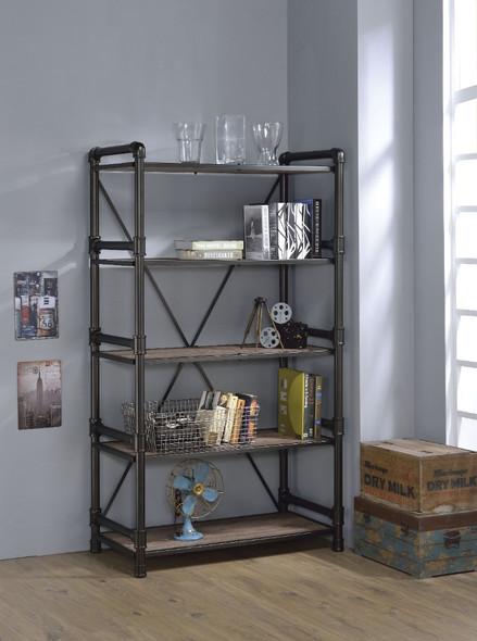 Industrial Looking Bookshelf, Rustic Oak amp; Black
