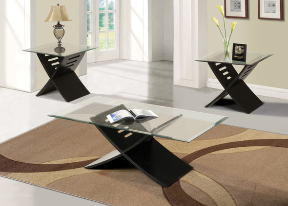 Coffee/End Table Set, Black - Pack of 3 Pieces