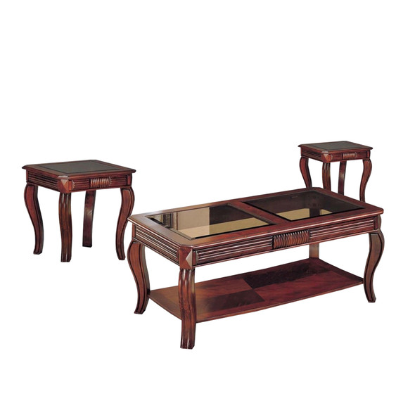 Coffee amp; End Table Set, Cherry Brown, Pack of 3 Pieces
