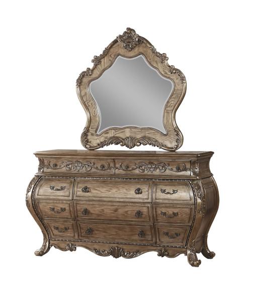 """3"""" X 46"""" X 48"""" Vintage Oak Wood Mirror"""