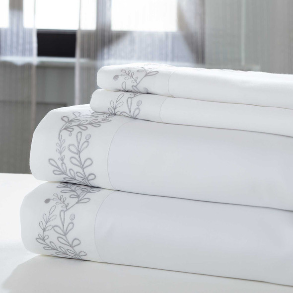 """0.2"""" x 102"""" x 106"""" Cotton and Polyester White and Silver 4 Piece California King Sheet Set"""