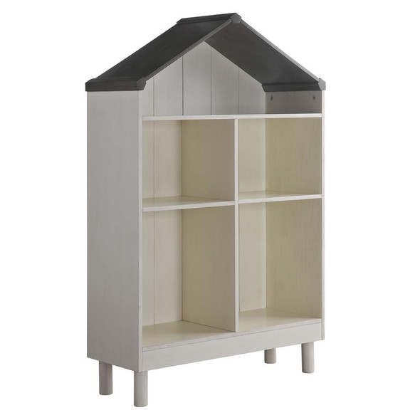 """55.75"""" x 12.99"""" x 34.84"""" Engineered Wood White and Gray Hut Shape Wooden Bookcase with Five Spacious Shelves"""