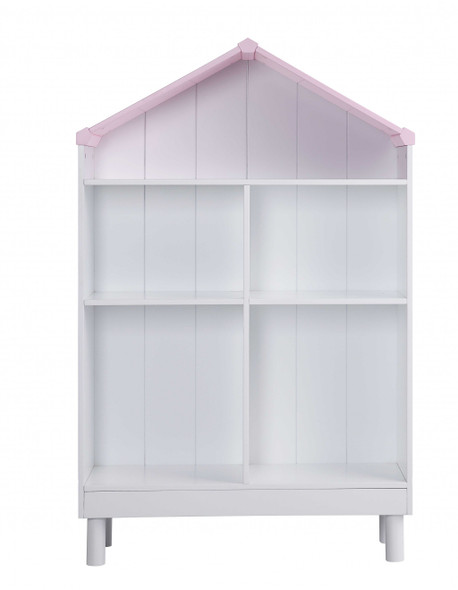 """55.75"""" x 12.99"""" x 34.84"""" Engineered Wood White and Pink Hut Shape Wooden Bookcase with Five Spacious Shelves"""