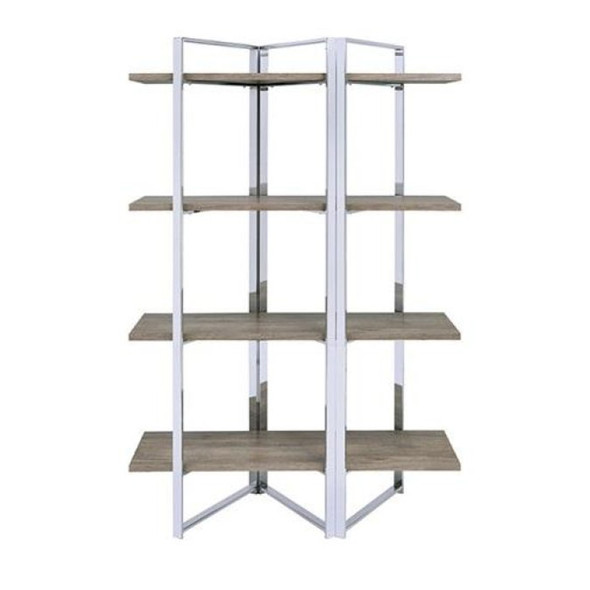 """72"""" x 18.5"""" x 47.25"""" Metal, Engineered Wood and Veneer Brown and Silver Geometric Metal Framed Bookshelf with Four Open Wooden Shelves"""