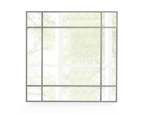 """40"""" X Gray Oak Glass Square Mirror"""