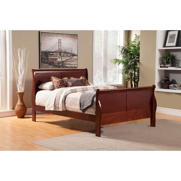 California King Size Rubberwood Sleigh Bed In Brown